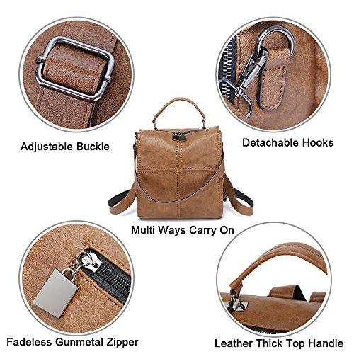 Square Rucksack Satchel Leather Leparvi Shoulder Women Pink Backpack Vintage Purse Bag qxS6CYw