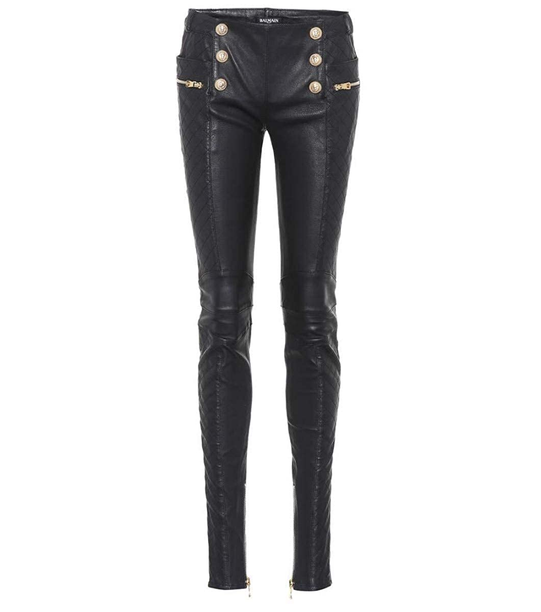 Women's Genuine Nappa Lambskin Leather Button Front Black Skinny Pants - DeluxeAdultCostumes.com