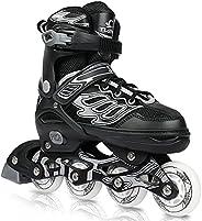 DIKASHI Roller Blades Skates Boys Girls Adjustable Inline Skates for Kids Adults with Light up Wheels Outdoor