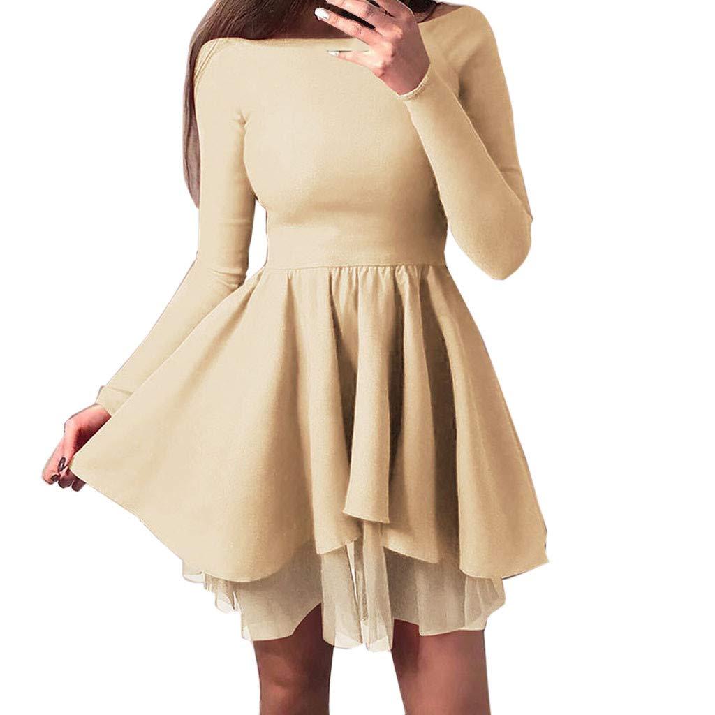 Uscharm Solid Color Dress Knee Length Womens Long Sleeve Off Shoulder A-Line Girls Summer Sexy Dress(Yellow, XL) by Uscharm