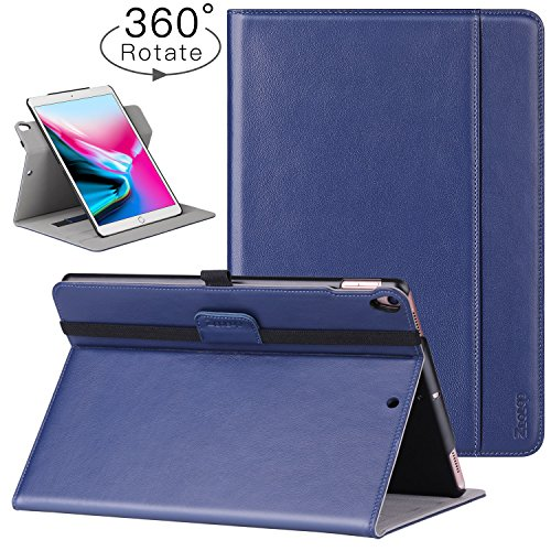 Ztotop iPad Pro 10.5 Inch 2017 Case, [360 Degree Rotating/Genuine Leather] Business Folio Multi-Angle Viewing Stand Cover with Auto Wake/Sleep,Document Card Slot,Hand Strap, Blue