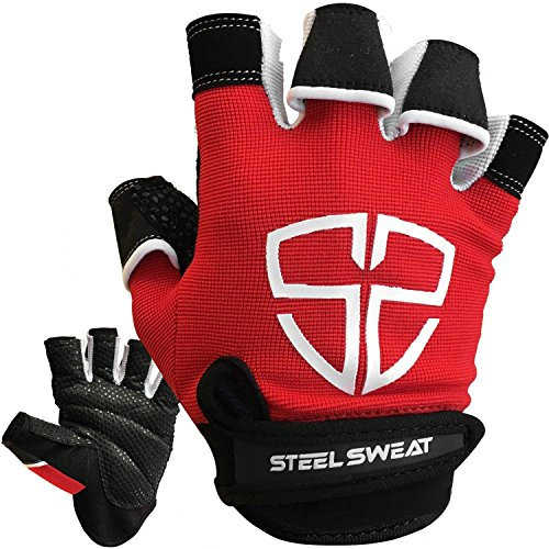 Steel Sweat Workout Gloves - Best for Gym, Weightlifting, Fitness, Training and Crossfit - Made for Men and Women who Love Weightlifting & Exercise – RUE Red X-Large
