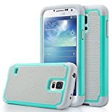 Samsung Galaxy S5 / S5 Neo Rugged Rubber Impact Heavy Duty Dual Layer Shock Proof Case Cover Skin - Teal / Gray