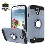 Galaxy S4 Case, Galaxy S4 Phone Case with HD Screen Protector,Atump 360 Degree Rotating Ring Holder Kickstand Bracket Cover Phone Case for Samsung Galaxy S4 Metal Slate