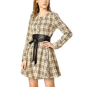 Allegra K Donna Abito Camicia a Quadri Manica Lunga Cintura Trapezio Vestito Natale 14