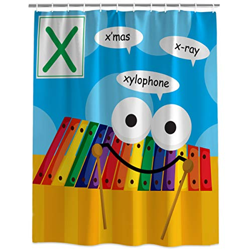 (HomeCreator Shower Curtain Bathroom Decor Cute Alphabet X X'Mas X-ray Xylophone Water, Soap and Mildew Resistant Curtains Sets with Hooks 36