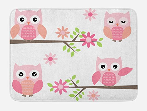 - Ambesonne Owl Bath Mat, Baby Owls Waving in The Floral Tree Springtime Girly Design Print, Plush Bathroom Decor Mat with Non Slip Backing, 29.5 W X 17.5 L Inches, Pink Green