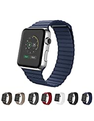 Apple Watch Band 38mm,SUNKONG® Leather Loop Band With Strong Magnetic Closure For All Apple Watch Sport And Edition (38mm blue)