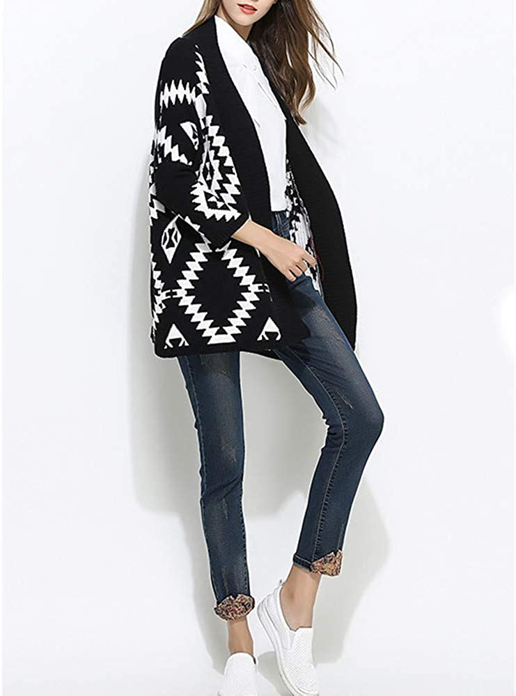 WEUIE Womens Jacket Women Tops Women Knitted Printing V Neck Long Sleeve Loose Sweater Pullover Coat