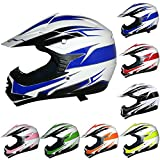 Leopard LEO-X16 Kids Motocross Helmet Children Quad Bike Crash Motorbike ATV Helmet - Blue M (51-52cm)