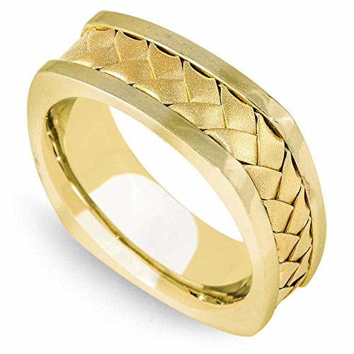 18K Yellow Gold Braided Basket Weave Men's Square Comfort Fit Wedding Band (7.5mm) Size-9.5c1