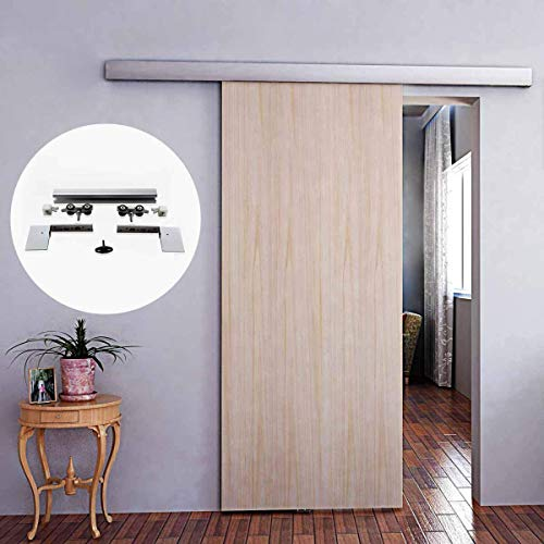6.6FT Aluminium Alloy Brushed Hidden Sliding Barn Door Hardware Track Kit with Decorative Cover Fit for Modern Interior Frameless Single 40-45MM Sliding Wood Door Wide Less Than 40inch (A10-200cm) (Sliding Japanese Doors)