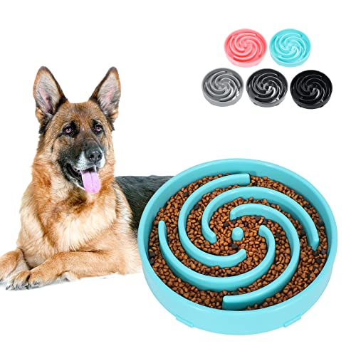 Large Slow Feeder Dog Bowl,Maze Interactive Dog Food Bowl,Anti Gulping Healthy Eating,Stop Bloat Pet Slow Down Feeding Dishes for Medium/Big Dogs(Blue)