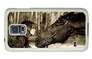 Hipster custom Samsung Galaxy S5 Cases girl kissing horse PC White for Samsung S5