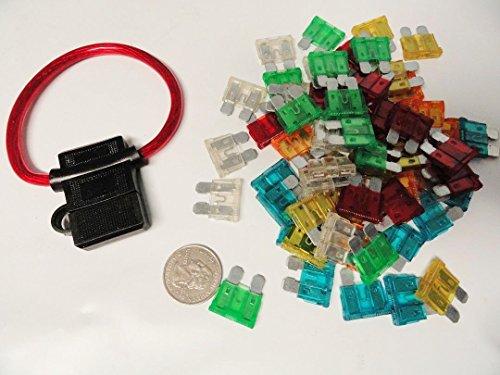 60 Pack Assortment Kit - 10 15 20 25 30 40 Amp ATC Fuses ...
