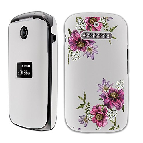(MINITURTLE White Floral Case Compatible w/ZTE Cymball LTE (Z320) Case [SNAP Shell][Anti-Smudge Matte White] High-Impact Hard Shell Case [Flower Series] - Purple Floral Vine)