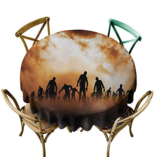Wendell Joshua Blue Tablecloth 54 inch Halloween,Zombies Dead Men Walking Body in The Doom Mist at Night Sky Haunted Theme Print,Orange Black Great for Buffet Table, Parties, Holiday Dinner & More