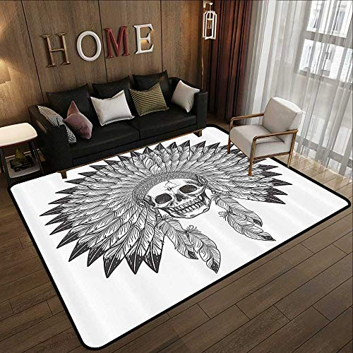 Office Floor mats,Native American,Ethnic Theme Apache Skull Tribal Feather Headdress Illustration,Charcoal Grey White 78.7