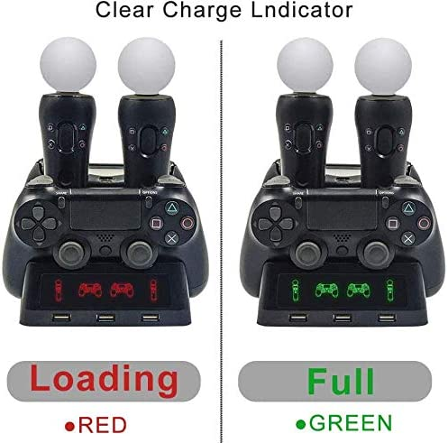 4 in 1 PS4 Controller Charger[Upgraded Version], Quad Charging Staion, 3 USB Interface Charging Desk for Sony Playstation 4/PS4/PS4 Pro/PS4 Slim/PS Move with LED Indicator 51oKK0FXLwL