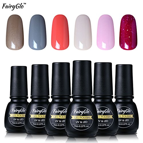 FairyGlo 6 Pcs Color UV LED Gel Nail Polish Soak Off Long Lasting Manicure Varnish Nail Art Starter Kit Beaurty High Gloss Wearing Top Base 7ml 1001