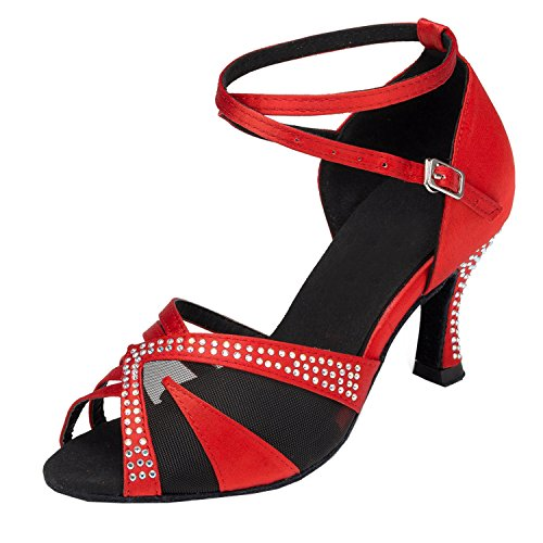 Rot Mesh Latein Sandalen Tanzschuhe Ladies Minitoo Schicke vqwYwz