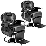 Set of 2 Black All Purpose Hydraulic Recline Barber Chair Salon Beauty Spa Shampoo Styling Chair