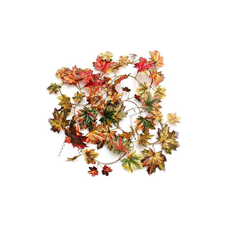 silk flower arrangements code florist fall artificial maple leaf wired garland for thanksgiving,weddings decorations,festival events,106 inch long