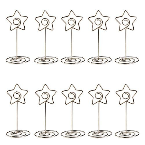 ULTNICE 10pcs Metal Star Table Number Photo Holder Stands for Weddings Party Gatherings -