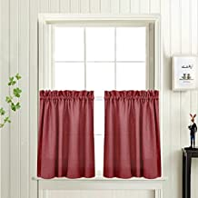 Tier Curtains for Kitchen 24-inch Small Privacy Semi Sheer Casual Weave Textured Half Window Curtains (72-inch Wide, Burgundy Red, Set of 2)