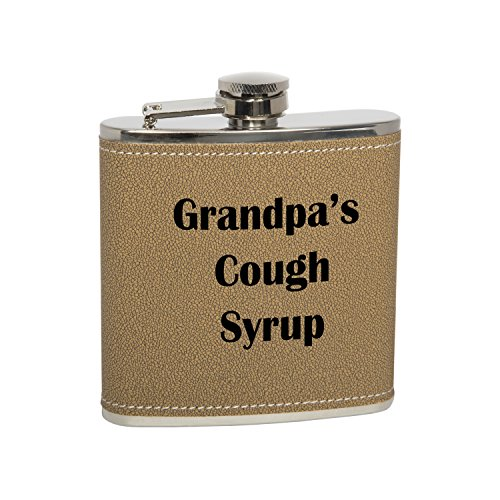 6oz Stainless Steel Grandpa's Cough Syrup Premium/Heavy Duty Hip Flask Gift Set - Includes Funnel and Gift Box, Natural Leather (Best Liquor For Cough)