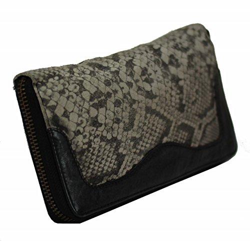 ANOKHI Snake printed echt Fell Leder Geldbörse Wallet Börse Clutch used style Neu
