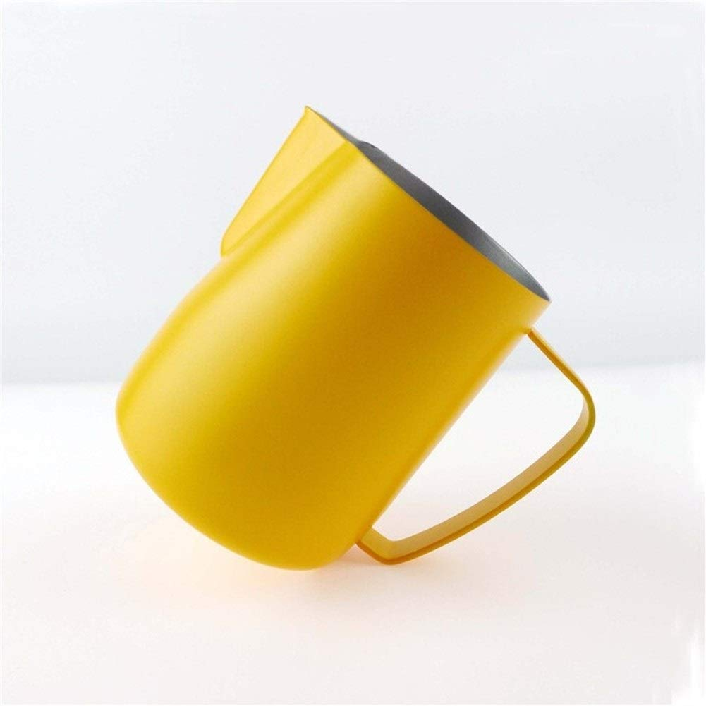 XIAOLAOBIAO Milk Jug 0.3-0.6L Stainless Steel Frothing Pitcher Pull Flower Cup Coffee Milk Frother Latte Art Milk Foam Tool (Capacity : 600ml, Color : Yellow) by XIAOLAOBIAO
