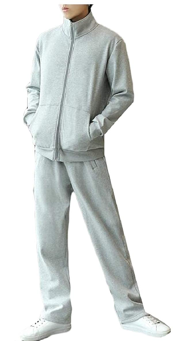 ONTBYB Mens Athletic Tracksuit Set Stand Colar Full Zip Jacket and Pants Sweat Suit