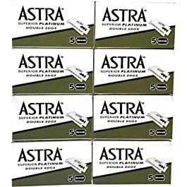 Astra Superior Platinum Double Edge Safety Razor Blades, 40 blades (5×8)
