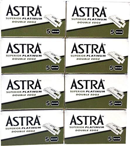 Astra Superior Platinum Double Edge Safety Razor Blades, 40 blades (5x8)