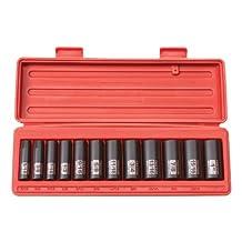 TEKTON 47920 3/8-Inch Drive Deep Impact Socket Set, Inch, Cr-V, 6-Point, 5/16-Inch - 1-Inch, 12-Sockets