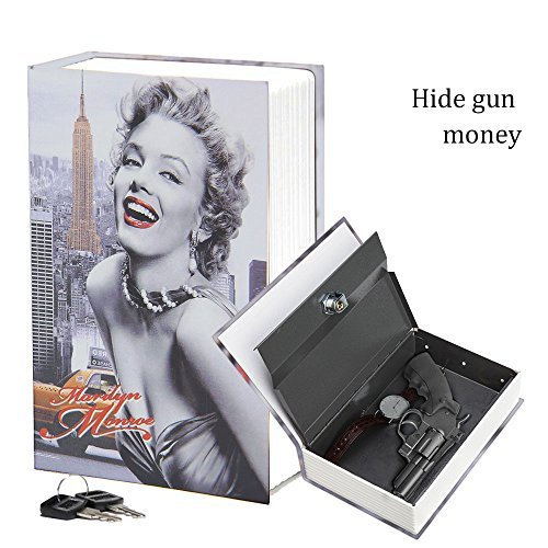 Eiou 9 4 6 3  2 3 Inches Book Diversion Hidden Book Safe With Strong Metal Case Inside And Key Lock Marilyn Monroe