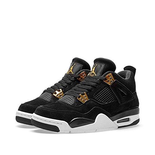 Jordan Nike Kinder Air 4 Retro BG Basketballschuh Schwarz, Metallic Gold-Weiß