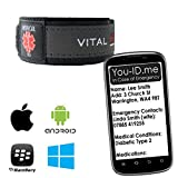 Ultimate Emergency Medical Identity Wristband ID Bracelet Smartphone Readable inc iPhone. Allows Paramedics / Medical Staff to connect to Your FREE You-ID.Me Medical Profile. Men Women Ladies Child. (Large (Adult), Grey) by Vital