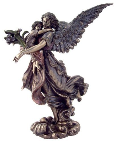 """11"""" Guardian Angel Holding Baby Statue With Figure Cathol..."""