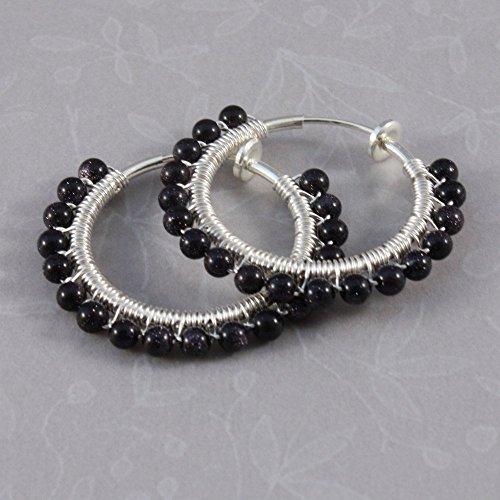 Clip hoop earrings wirewrapped blue Goldstone, clip on earrings