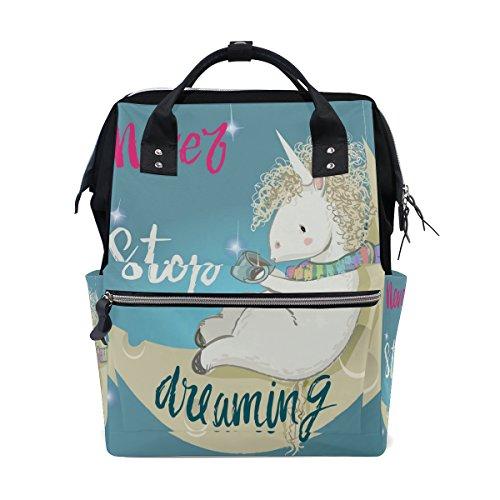 ALIREA Pink Cartoon Fairytale Unicorn Diaper Bag Backpack, L