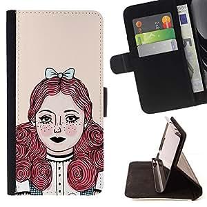 Momo Phone Case / Flip Funda de Cuero Case Cover - Redhead chica Pastel Tones - LG G4c Curve H522Y (G4 MINI), NOT FOR LG G4
