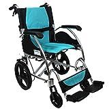 KosmoCare Stylex Premium Imported Ultra lightweight Transporter Wheelchair With Seat Belt -Crest Series-Light Blue