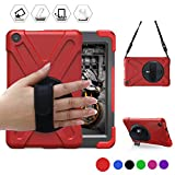 All-New Fire HD 8(2017 Released, 7th Generation Only) BRAECN Three Layer Armor Defender Full Body Protective Case Cover/Hand strap/shoulder strap For Amazon Kindle Fire HD8 (Red)