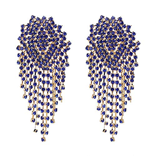 Crystal Beads Earrings Women Ethnic Jewelry Handmade Elegant Big Long Beads Earrings Blue ()