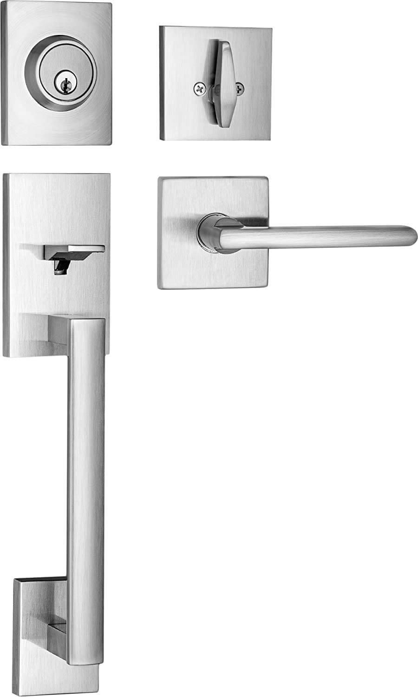 Berlin Modisch HandleSet Front Door Entry Handle and Deadbolt Lock Set Slim Square Single Cylinder Deadbolt and Lever Reversible for Right & Left Sided Doors Heavy Duty – Satin Nickel Finish