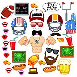 36 Piece Super Bowl Football Photo Booth Props Kits – Touch Down Frenzy Sport Soccer Birthday Party Favors Decoration Supplies, for Back to School Theme Party Game Day