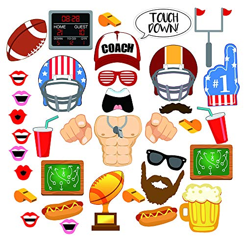 - 36 Piece Super Bowl Football Photo Booth Props Kits – Touch Down Frenzy Sport Soccer Birthday Party Favors Decoration Supplies, for Back to School Theme Party Game Day
