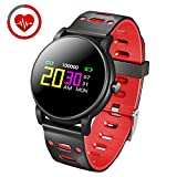 Smart Wristband Bracelet with Blood Pressure Heart Rate Monitor | Health Sport Band Watch Bluetooth Waterproof IP67 with Pedometer Calorie Counter for iPhone & Android (Black) (TPU Black)